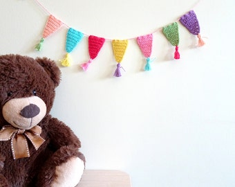 Bunting decor with little tassels - birthday party garland - Birthday decor - colorful kids party decor - crochet bunting garland ~19 inches