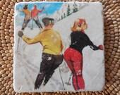 "Marble Stone Coaster - Vintage Ski - ""Ski Buns"" - Ski Decor - Ski Gift - Decorative Tile"