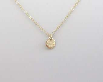 14k SOLID  GOLD  hammered disc ,  Hammered  , gold circle necklace 6.5mm disc
