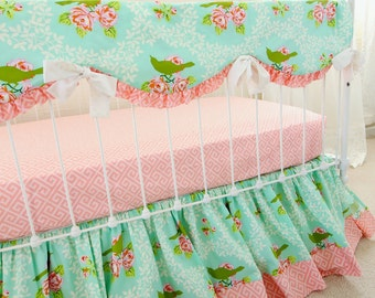 Turquoise and Pink Vintage Mockingbird Roses Baby Bedding Set. Baby Girl Crib Bedding Bumperless Set with Rail Cover, Sheet, & Ruffle Skirt