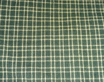 Primitive/Country Green Plaid Homespun Fabric Quilting Fabric Sewing Fabric Rustic Fabric Craft Supplies