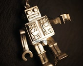 The moving Robot  925 Sterling Silver Pendant (M)(P85)