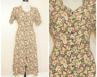 90s Floral Maxi Dress Medium Grunge Long Dress Corset Waist Tie Short Sleeves Boho Hippie