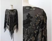 Black Silk Sheer Poncho Shawl Burnout Velvet Black Cape Fringed Gypsy Boho Bohemian Jacket