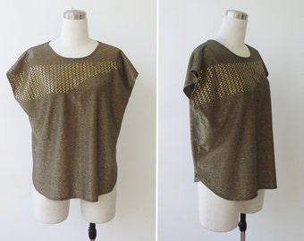 Free Shipping. Metallic gold top 80s golden blouse sparkle 1970s disco glam shirt