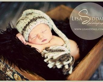 Knit Baby Elf Hat, Newborn Baby Elf Hat, Knit Newborn Hat, Knit Baby Hat, Baby Stocking Hat, Newborn Photography Prop