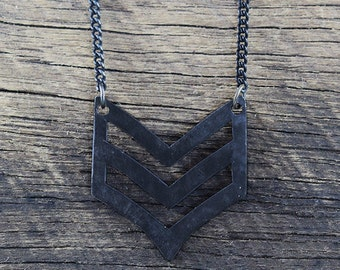 Black Military Necklace Mens Epaulette Pendant Army Jewelry