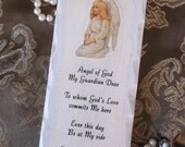 Guardian angel prayer, petite plaque, shabby rustic chic, antiqued white