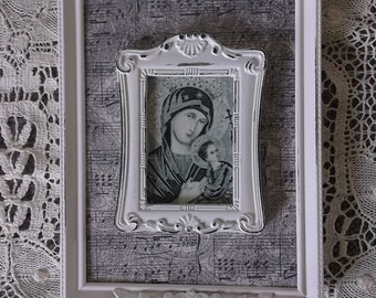 Our Lady of Perpetual Help, black and white, shabby white, repurposed vintage, wall devotional