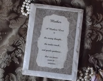 Mother gift plaque, Inspirational Sign for Mother, Mother gift, tan brocade and antiqued white