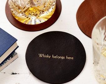 Personalised Vintage Style Leather Coaster