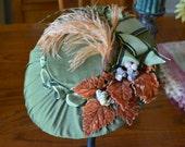 Olive Green Silk Tilt Hat