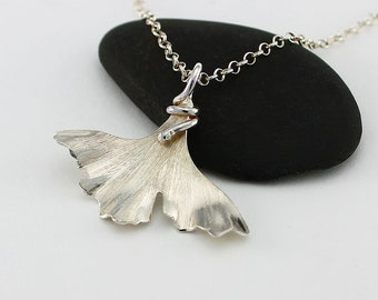 Handcrafted Sterling Silver Ginkgo Leaf Pendant and Sterling Silver Chain Minimalist Contemporary Artisan Jewelry Design 0136566331816