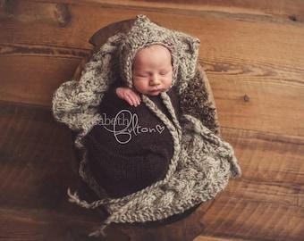 Newborn Boy Pixie Hat,  Newborn Baby Boy Photo Props, Newborn Baby Pixie Bonnet, Chunky Baby Hat, Baby Boy Tweed Hat, Photography Props