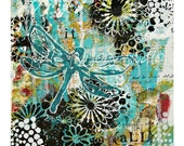 Dragonfly Mixed Media Collage Art Print/ Nursery Print/Dragonfly canvas/Dragonfly Painting/ Giclee Dragonfl print/ home decor/Trust it ALL