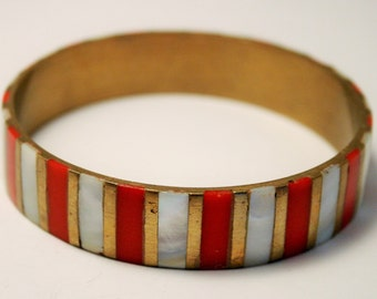 Vintage red and white bangle. Mother of Pearl bangle.  Brass bangle