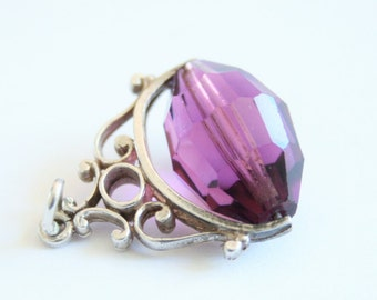 Vintage purple crystal bead spinner charm. Sterling silver.  Spinner fob