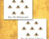 Be My Bridesmaid Cards, Bee My Bridesmaid Invitations, Bridesmaid, Maid of Honor, Bridal Party, Set of Ten, Bridesmaid Invite, Blank Inside