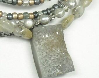Druzy Necklace - Druzy Jewelry - Mixed Gemstone - Multistrand - Natural Druzy - Winter - Drusy - Agate Necklace - Rutiliated Quartz - Druse