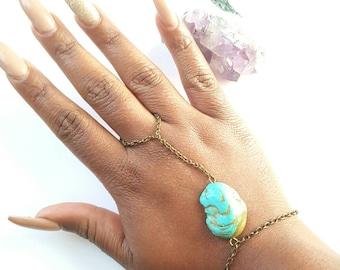 Turquoise slave bracelet-Brass hand chain- bohemian brass slave chain