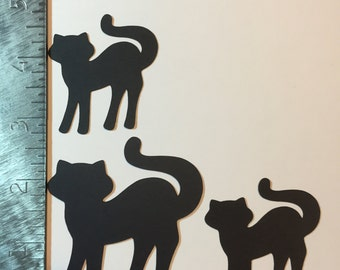 3 Black cat silhouette die cuts