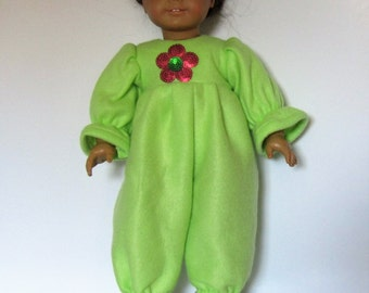 Green Fleece Footies Pajamas PJ's Made to fit Dolls Like Gotz or American Girl -  Doll Clothes 18""