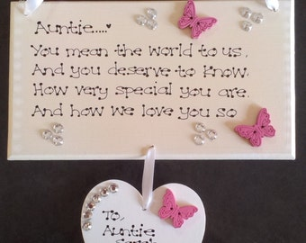 Personalised Aunt Auntie You mean the world Poem Love Christmas Gift Plaque