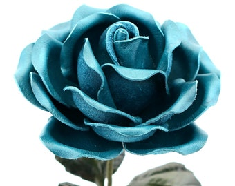 Leather Rose Teal Blue Leather Flower Third Anniversary 3rd Leather Anniversary Ninth Wedding Anniversary Gift Long Stem Rose Sofia