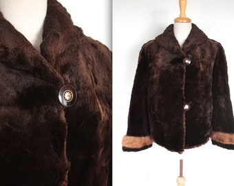 1950s Fur Coat // 50s Brown Beaver Fur Coat with Mink Fur Trim Cuffs // Hollywood Winter