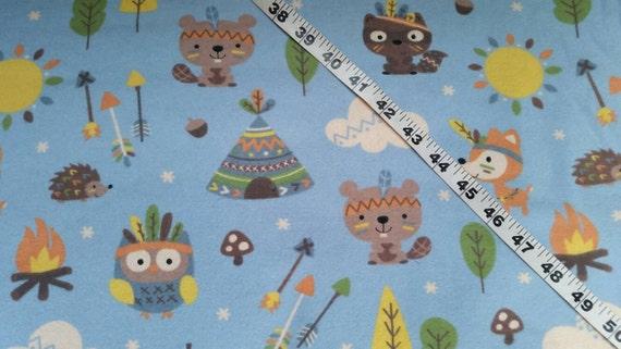 Flannel kids fabric beaver fox raccoon teepee arrows for Kids print fabric