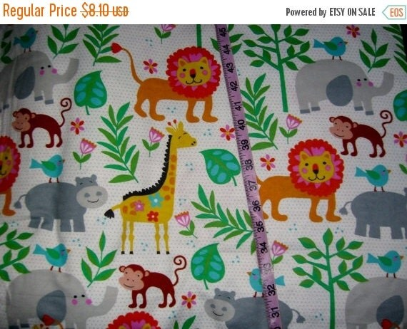 kids flannel fabric with giraffes jungle by