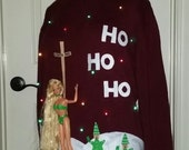 Ready to Ship, 3-D, Tacky, Ugly Christmas Sweater,  Naughty North Pole Stripper, Mens,  Hysterical,  Sweater Party, Lights, Funny