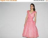 SALE 65% OFF ends 02/16 Vintage 1980s does 1950s Pink Polka Dot Cupcake Party Dress  - Vintage  Party Dress - Vintage Pink Dresses  - WD0521