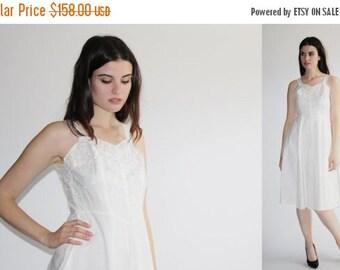 70% Off FINAL SALE - D - Vintage 1940s White Dress -  40s Eyelet Lace  Dress - The Mountain Wedding Dress - 8040