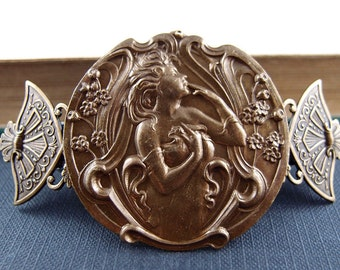 Fairy Garden -Victorian style aged brass barrette-Made in France Barrette
