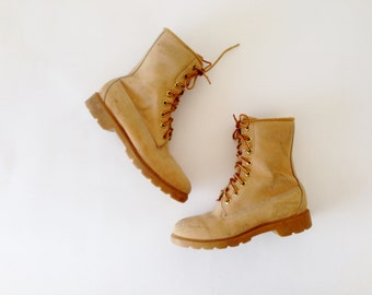 Vintage Timberland Boots / Yellow Boots / Leather Boots / Ankle Boots Work Boots Shoes Mens Size 5 / Womens Size 7