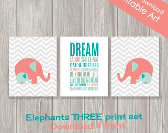 Elephant Nursery Decor - Elephant Wall Art - Printable Childrens Wall Art - Kids Wall Art - INSTANT DOWNLOAD- Set of Three - 8 x 10