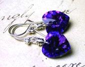 Wire Wrapped Swarovski Crystal Heart Earrings in Heliotrope