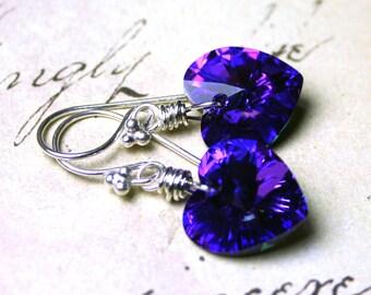 Reserved For Ellen W. - Wire Wrapped Swarovski Crystal Heart Earrings in Heliotrope