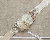 Bridal sash, Bridal belt Burlap Wedding belt Wedding sash Floral sash Floral belt lace sash rustic Ivory Champagne OOAK