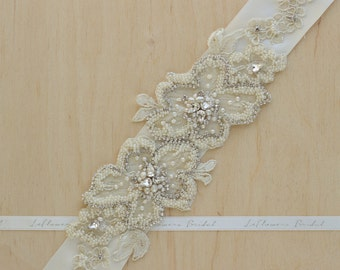 Bridal sash, Wedding belt, Ivory, Champagne, Bridal belt, Wedding sash, Wedding dress belt, Wedding dress belt, Floral bridal belt