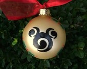 Mickey Mouse Ornament - Personalized Christmas Ornament - Hand Painted Ornament, Modern Design, Disney Christmas, Baby's 1st Christmas