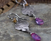Reserved for JJ - SALE - Secret Garden Earrings #2 - Kyanite, Golden Spinel - Charitable Benefiting Differently Abled Adults