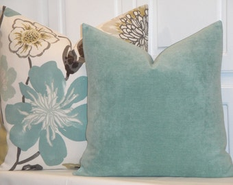 DOUBLE-SIDED + Aqua-Green Chenille Velvet Decorative Pillow Cover + Accent Pillow + Chair Pillow + Cushion Cover