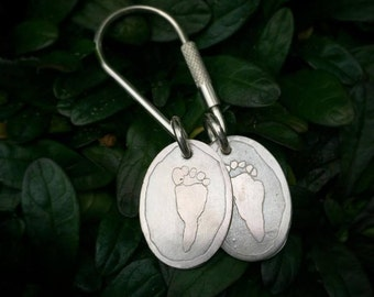 Solid Sterling Key Ring - etched with your ACTUAL child's footprints (or handprints)