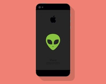 ALIEN VINYL DECAL, Outer Space Decal, iPhone Decal, Cell Phone Decal, Vinyl Sticker
