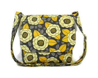 Gray Yellow Purse, Floral Print Bag, Small Crossbody Bag, Aviary Bloom Purse, Fabric Pocketbook, Cotton Cross Body Bag, Floral Messenger Bag