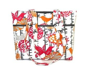 Tote Purse with Birds and Flowers, Orange and Pink Handbag, Fabric Shoulder Bag, Cotton Tote Bag, 6 Pocket Purse, Double Strap Pocketbook