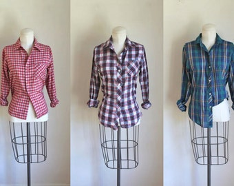lot of 3 vintage 1970s plaid shirts - BASICS set of 3 button up shirts / XS-S