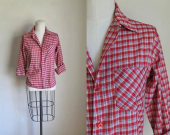75% OFF...last call // vintage 1970s plaid shirt - TARTAN red checker boy's button down / 10/11yr / XS
